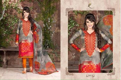 Picture of  Rakhi Exclusive Dress Fire Red & Light Taupe
