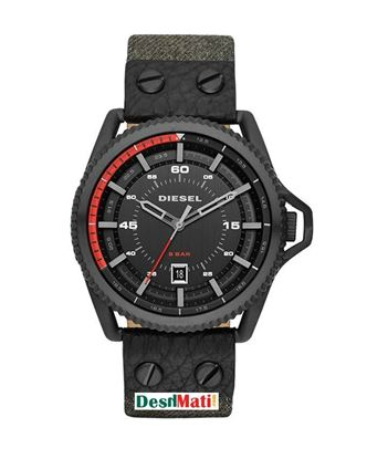 Picture of DIESEL Leather Quartz Analog Watch for Men - Grey