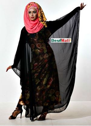 Picture of Raka Fashion Exclusive Women's Black inside mriculti color print Party Borka Code#9016