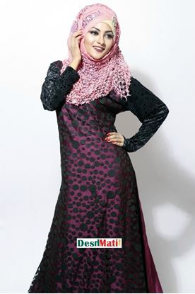Picture of Raka Fashion Exclusive Women's Black In Violet Borka Code#9002