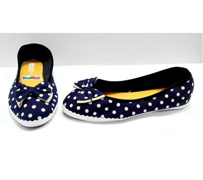 Picture of Ladies White Ball With Blue Bow Soft pampi shoe print