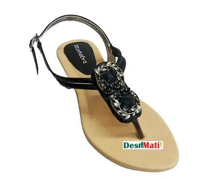Picture of FAUX Ladies Black Leather Sandals/লেডিজ FAUX লেদার স্যান্ডেল