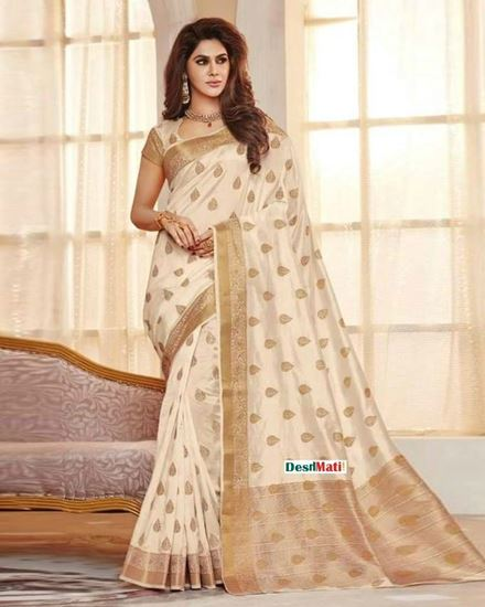 55cc620a19 Rajguru Off White Silk Katan Saree. Online Shopping based in Bangladesh.