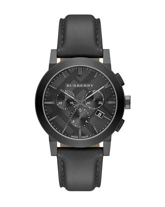 Picture of Burberry Leather Analog Chronograph Watch for Men - Black