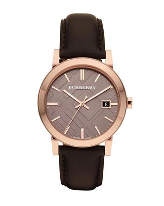 Picture of Burberry Leather Analog Watch for Men - Black