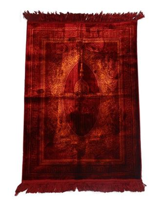 Picture of Muslim Prayer Velvet Janamaz - Dark Red