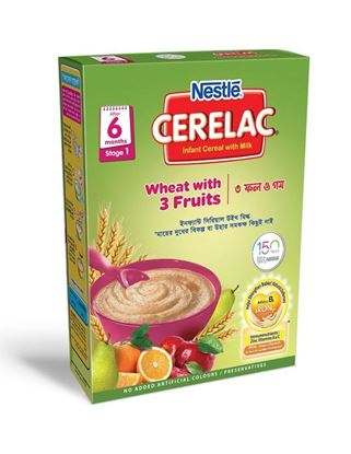 Picture of NESTLÉ CERELAC Wheat With 3 Fruits & Milk (Stage 1, 6 months +) BIB-400gm