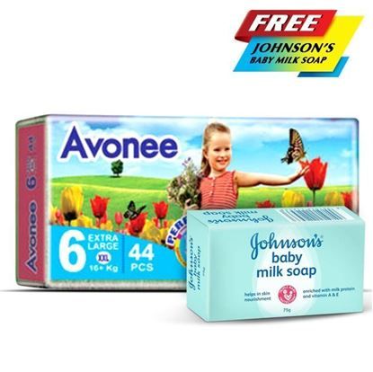 Picture of  Avonee Diaper - Extra Large (16+Kg)-44Pcs With Free Johnson'S Baby Milk Soap 75g