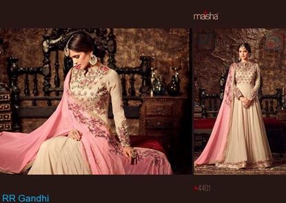Picture of  Masha Brand Original Indian Gown Pastel Pink  And Brown     ink