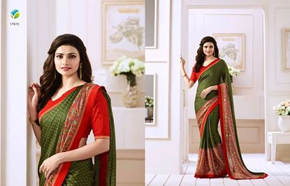 Picture of Original INDIAN Embroidery Work on Pure Soft Georgette Saree