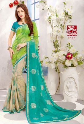 Picture of ORIGINAL INDIAN GEORGETTE SAREE Light Blue