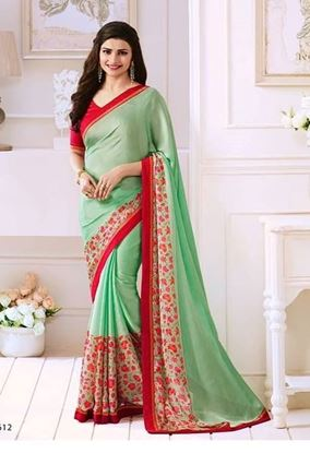 Picture of Original Indian Pure Satin Georgette Saree Juwel Turquoise