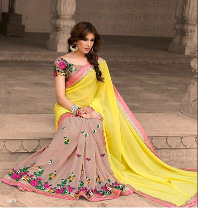 Picture of Original INDIAN Pure Soft Georgette Saree Cream &Yellow