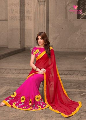Picture of Original INDIAN Pure Soft Georgette Saree Pink & Red
