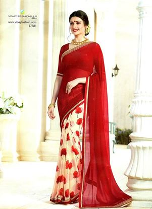 Picture of Original Indian Pure Chiffon Georgette Saree Red