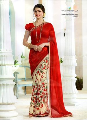 Picture of Original Indian Pure Chiffon Georgette Saree Red &Cream