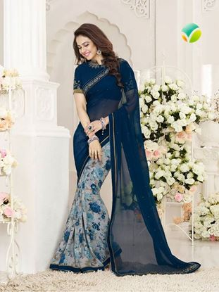Picture of Original Indian Pure Chiffon Georgette Saree Blue