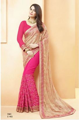 Picture of Original Indian georgette Saree Pink