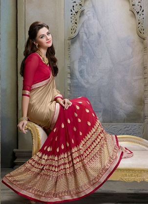 Picture of Original Indian georgette Red & Beige
