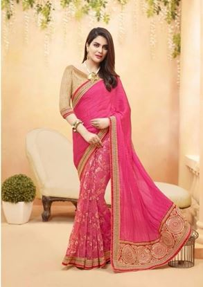 Picture of Original Indian Georgette Pink &  Golden