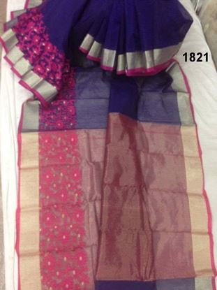 Picture of  Half Silk Saree- Blue & Pink