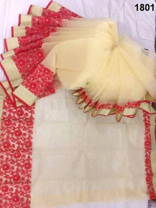 Picture of Half Silk Saree Cream & Red