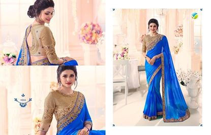 Picture of Original Indian Georgette Saree Blue