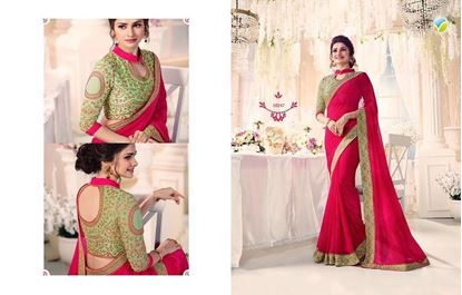 Picture of Original Indian Georgette Saree Deep Pink