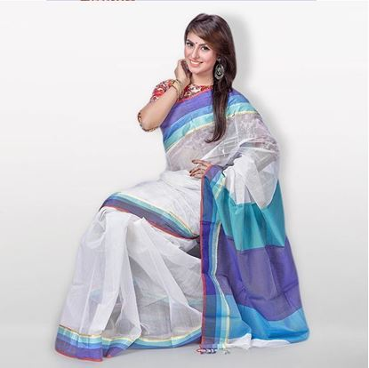 Picture of White and Blue Toshor Silk Casual Sharee For Women