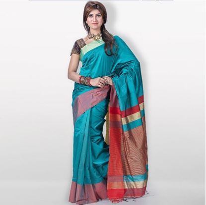 Picture of  Teal Toshor Silk Casual Sharee