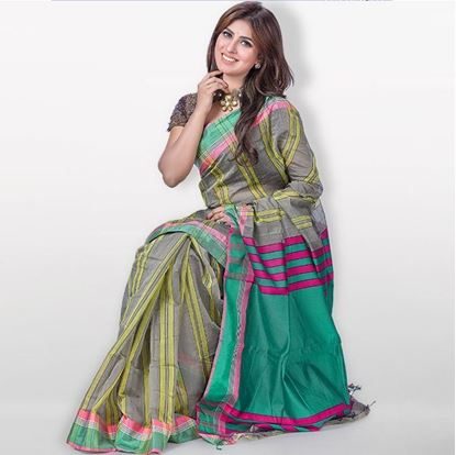Picture of  DarkOlive Green Toshor Silk Casual Sharee