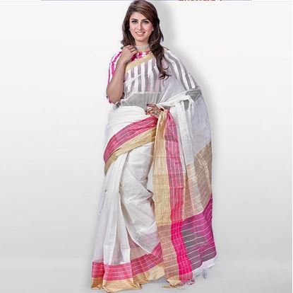 Picture of  White and Golden Toshor Silk Sharee