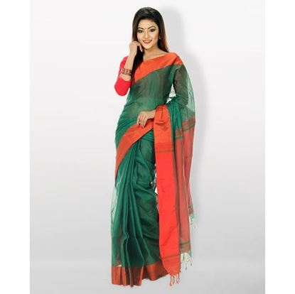 Picture of Tosor Silk Casual Sharee - Green and Red