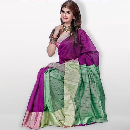Picture of  Purple and Green Toshor Silk Sharee