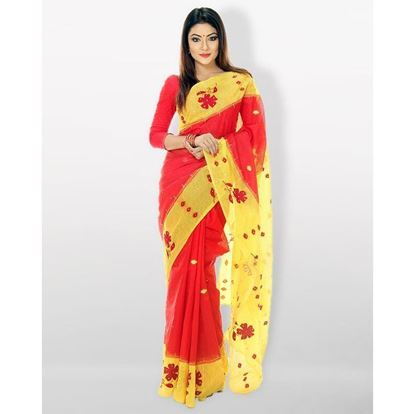 Picture of  Applique Silk Sharee - Red and Yellow
