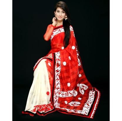 Picture of  Silk Casual Sharee - Red and White