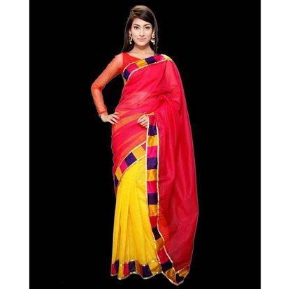 Picture of  Silk Casual Sharee - Red and Yellow