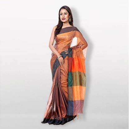 Picture of Multicolor Tashar Silk Saree For Women