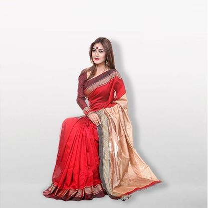 Picture of  Red and Golden Cotton & Silk Saree