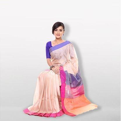Picture of  Multicolor Cotton & Silk Saree For Women