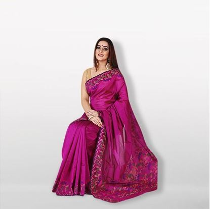 Picture of Magenta Gass Silk Saree For Women
