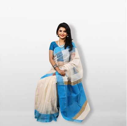 Picture of White and Blue Silk & Cotton Saree