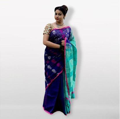 Picture of  Multicolor Silk Cotton Saree For Women