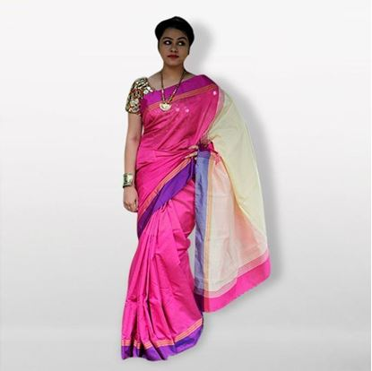 Picture of Pink and White Silk Cotton Saree