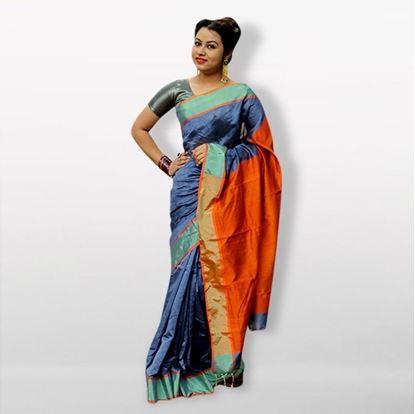 Picture of  Blue and Orange Silk Cotton Saree