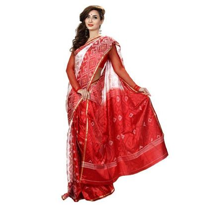 Picture of  Maroon and White Silk Saree For Women