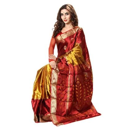 Picture of  Maroon and Golden Silk Saree For Women