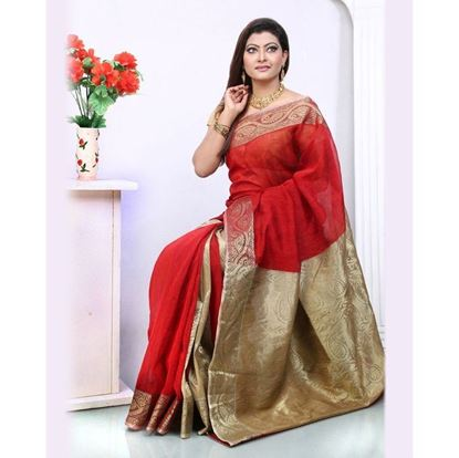 Picture of  Red Silk Cotton Saree For Women