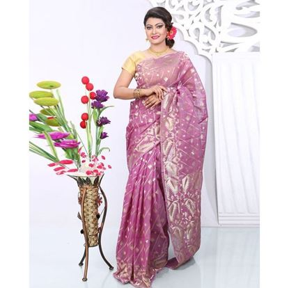 Picture of Violet Silk Cotton Saree For Women