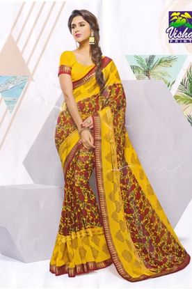 Picture of ORIGINAL INDIAN PURE GEORGETTE YELLOW & RED